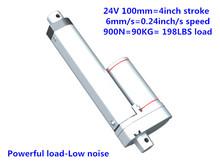 Buy 24V DC 100mm 4 inches stroke 900N 90KG 198LBS load 6mm/sec 0.24inch/sec speed mini heavy duty linear actuator LA10 type for $27.00 in AliExpress store