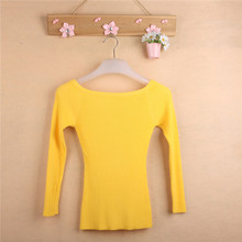 Free Shipping Autumn and Winter basic Women Sweater slit neckline Strapless Sweater thickening sweater top thread slim C0320(China (Mainland))