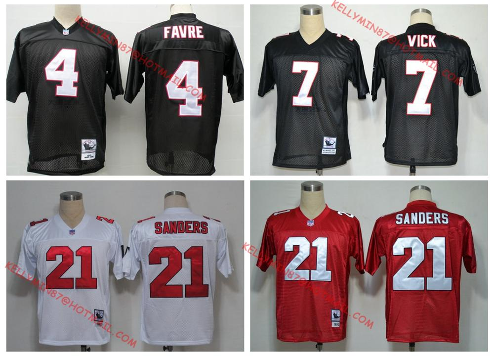 100% Stitiched,Atlanta Falcons,Deion Sanders,brett favre,Vick,Throwback for men(China (Mainland))