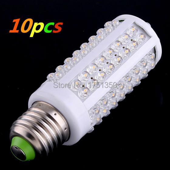 10pcs AC 220-240V 108 LEDs E27 7W Warm Light LED Screw Corn Light Bulb(China (Mainland))