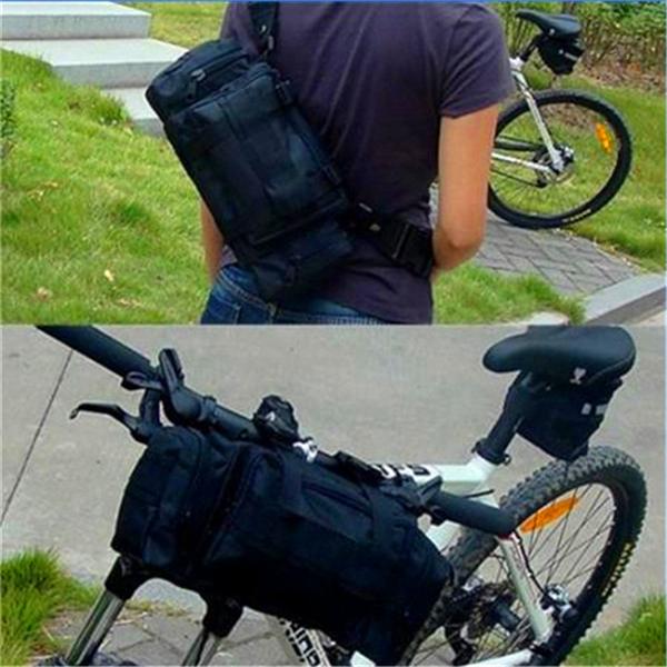 New Multifunction Cycling Bike Bicycle Waist Pack Shoulder Handlebar Bag Black(China (Mainland))
