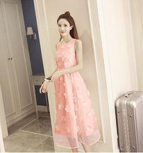 2019 חדש קיץ שמלת וינטג שרוולים אפליקציות תחרה כדור שמלת שמלת נשים מתוק אלגנטי מקסי ארוך המפלגה אורגנזה שמלת HJ466(China)