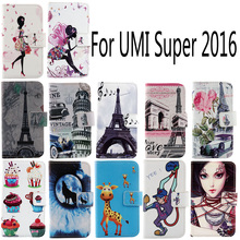 Optional PU Leather Case UMI Super 2016 Fashion Cartoon Painted Flip Protective Cover Skin - **Andy ** store