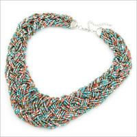 2014 New Hot Boho Colored Beads Handmade Statement Necklace Bohemian Fashion Jewlery Necklaces & Pendants Jewelery Women N638