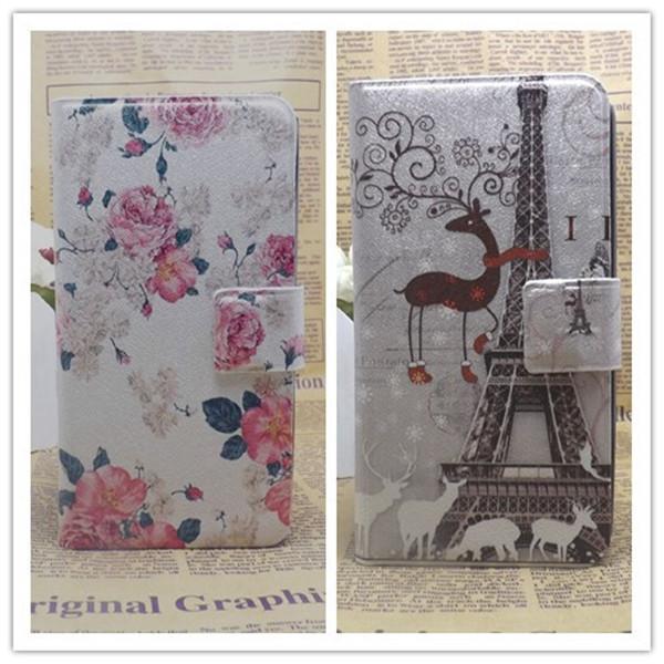 Wholesale 10pcs/lot Flower Eiffel Tower PU Leather Flip Cover Case For Samsung Galaxy S4 mini i9190 i9192,Card Slot &holes