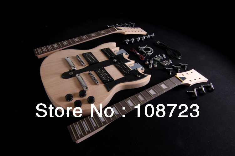 DIY SG Electric Double Neck Guitar Kit | Bolt-On | Solid Mahogany Body & Neck 12/6(China (Mainland))