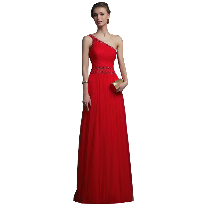 One Shoulder Red Prom Dresses Plus Size 2015 Sexy Red One Shou...