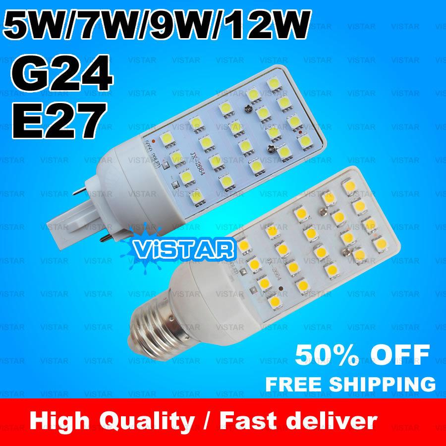 G24 E27 LED bulb lampada 5W 7W 9W 12W LAMP light 20 pcs LEDs 180 degree high quality Warm white Cold white free shipping(China (Mainland))