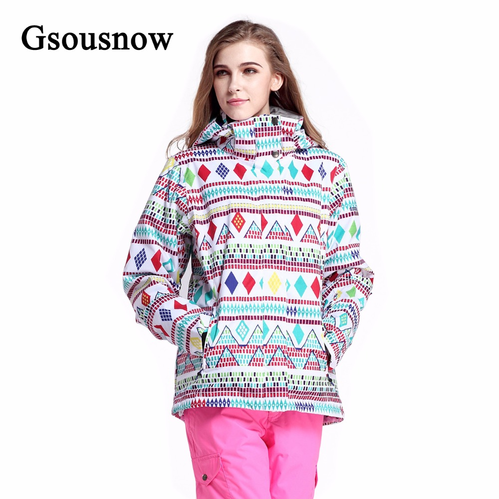 Gsousnow Brand Snowboard Women Ski Jacket Winter Sports Hooded Outdoor Coat for Female Thermal Windproof Polyester Sking Suit(China (Mainland))