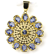 Attractive Rich Blue Violet Tanzanite Ladies 925 Gold Silver Pendant 30mm