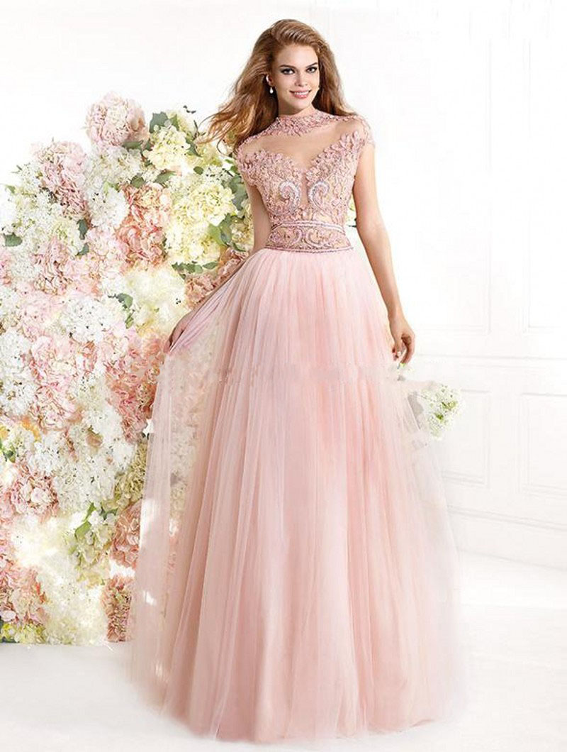 Fascinating Light Pink Beading Prom Dresses A-Line High-Neck Cap Short Sleeve Formal Party Gowns Tulle Evening Vestidos - bridal_gown-2 store