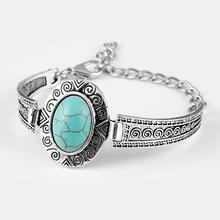 Vintage Turquoise Stone Bracelet Silver Plated Flower Alloy Metal Carved Charm Link Chain Bracelets brazalete Accessory PT36(China (Mainland))