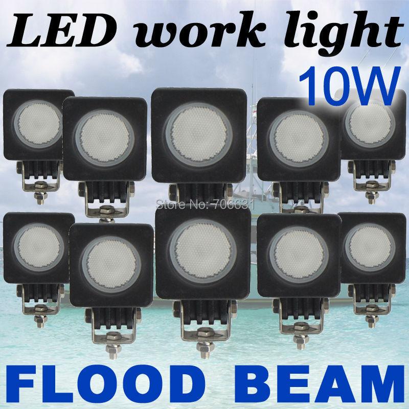 10x10W Round CREE LED Work Light Bar FLOOD 800LM Driving Reverse 4WD Lamp 12V 24V<br><br>Aliexpress