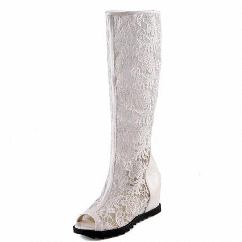 ENMAYER  women boots 2015 platform wedges summer boots knee high Summer  sexy Lace high heel peep toe shoes fashion shoes women<br><br>Aliexpress