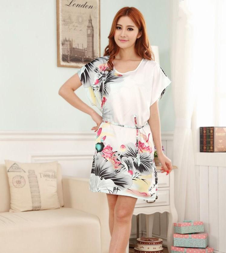 Новое поступление зеленый нью-китайских женщин шелковый район одеяние ванна платье юката ночная рубашка один размер Nuisette Pijama Mujer Zh01K