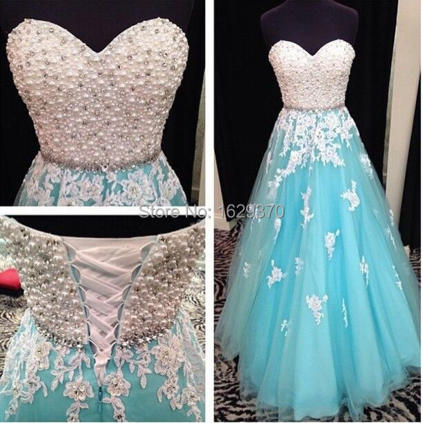 White Blue Long Prom Dresses 2015 New Beading Sweetheart Sleeveless Line Lace-up Floor Length Tulle Stock Dress Gown - glamorous lady2015 store