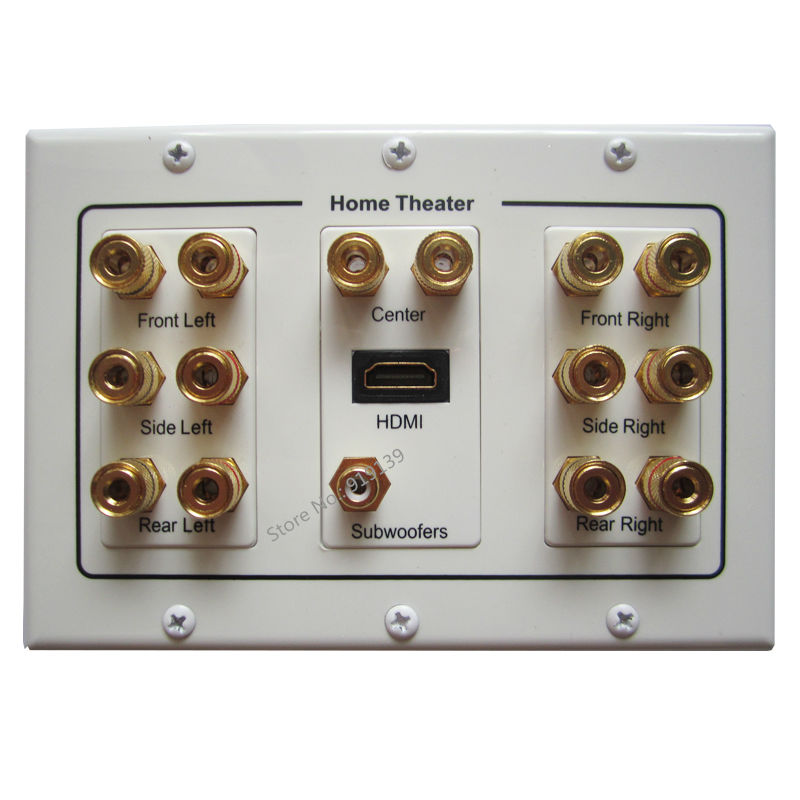 Free Shipping Multmedia Home Theater Speaker Plate HDMI 1.4 Subwoofer Input With 7x Audio Connectors Banana Jack Wall Panel(China (Mainland))