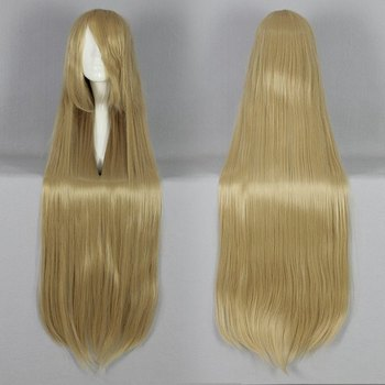 100 cm Long Straight Blonde Golden Princess Cosplay Wig