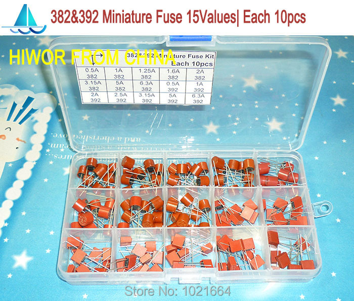 (150pcs/lot) 382 392 Miniature Slow Blow Radial Leads Square Fuse & Cylinder Fuse Assortment Kits, Littlefuse Wickman