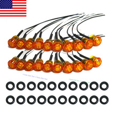 "20X Mini Amber 3/4"" Round Side 3 LED Marker Trailer Bullet Clearance License Light US Stock(China (Mainland))"