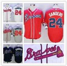 # 24 Deion Sanders Jerseys Atlanta Braves White Red Cream Blue size extra Small S M-4XL 58(China (Mainland))