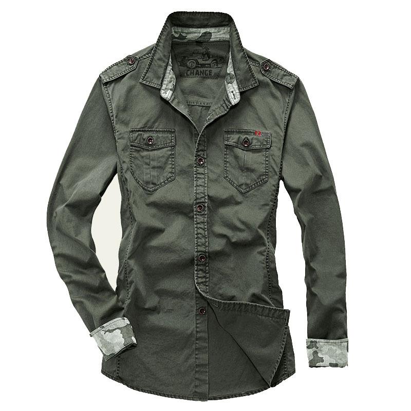 M 4XL Big Size Camisa Masculina Casual Military Style Mens Shirts Long Sleeve 4 Colors Men