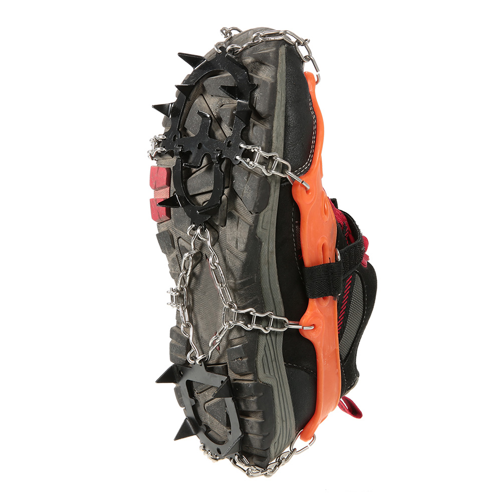 2pcs 14-Teeth 2 Color Sports Anti-Slip Ice Gripper Cleats Shoe Boot Grips Crampon Chain Spike Snow for Hiking Climbing(China (Mainland))
