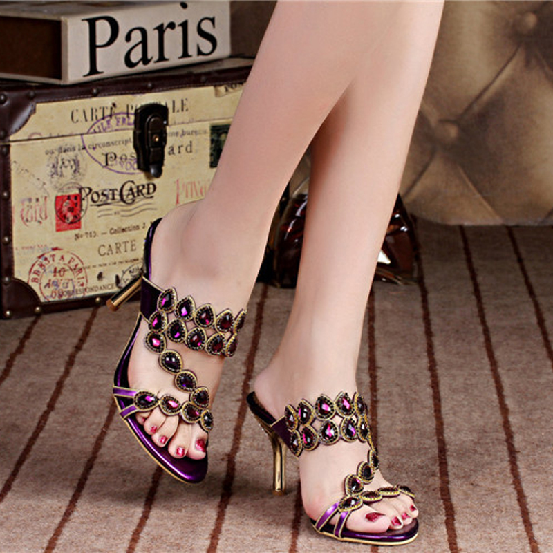 Фотография 2016 rhinestone sandals styles peacock high-heeled shoes thick thin wedges genuine leather rhinestone female sandals GS-T017VTX