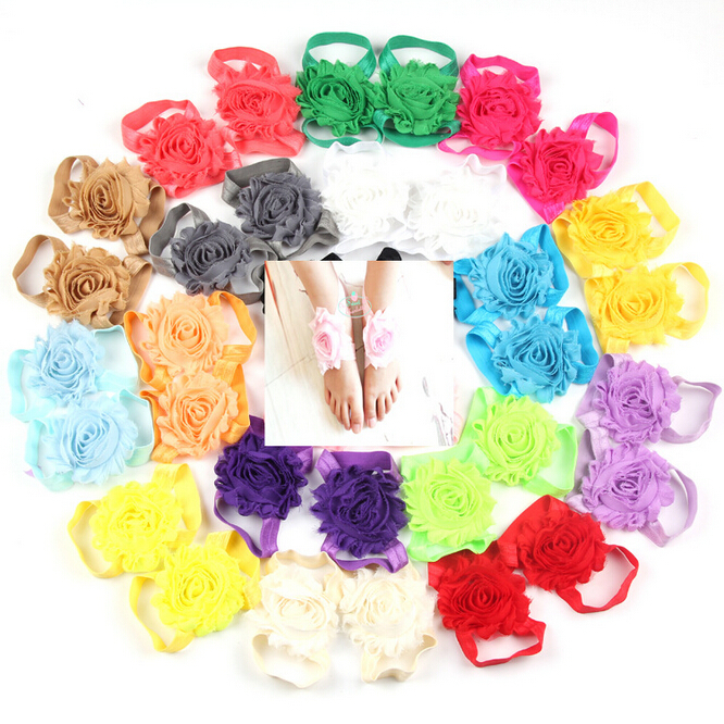 New Arrival Newborn Baby Girl Candy Color Foot Flower + Shabby Flower Hairbands Set Barefoot Sandals with Headband 17colors(China (Mainland))