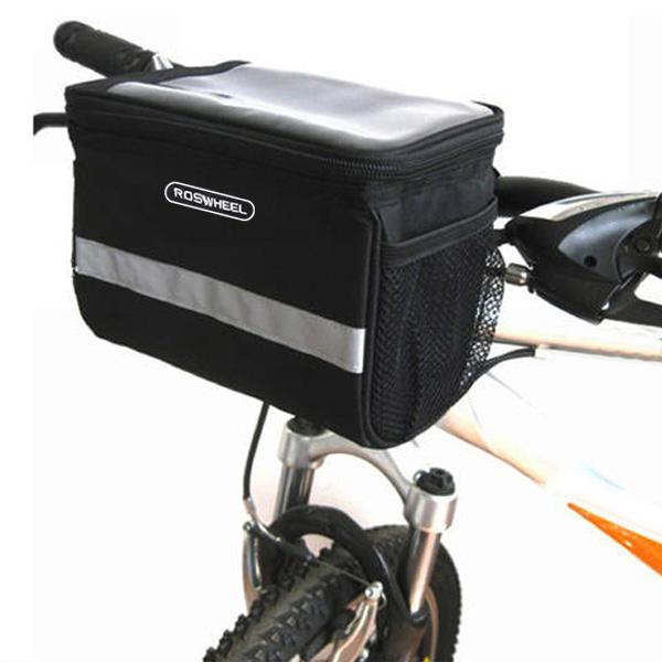 Roswheel Black Bicycle Bags Outdoor Sport Cycling Pannier Rack Basket Bike Handlebar Bag Front Tube Pocket Shoulder Pack(China (Mainland))