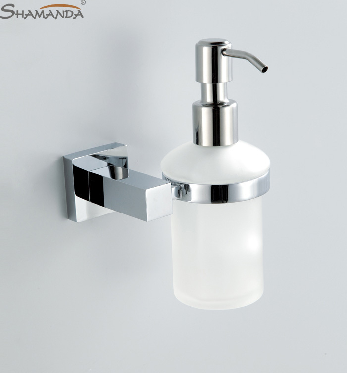 Free Shipping Soap Dispenser Lotion Dispenser Brass Base With Chrome Finish Frosted Glass