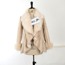2016 new fashion autumn/winter women's casual street faux fur coat camel short warm leather jacket for lady(China (Mainland))