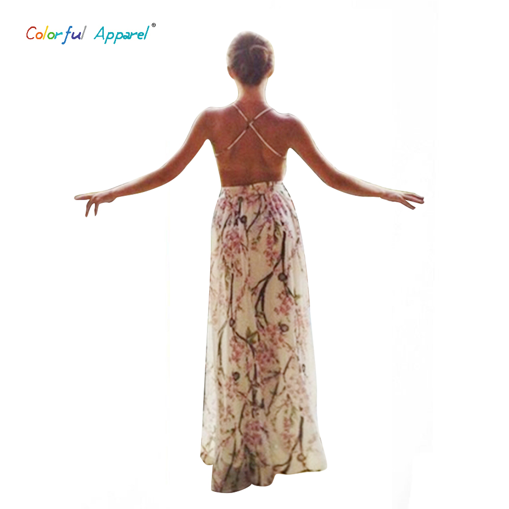 Colorful Apparel Spaghetti Strap Sexy Open Backless Long Dress Ladies Floral Printing Beach dress Women's summer dresses CA119A(China (Mainland))