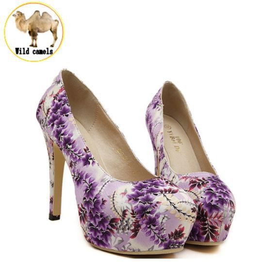 ladies shoes woman 2015 purple wedding shoes flowers printed sexy high heels new arrive platform women pumps female heels x41