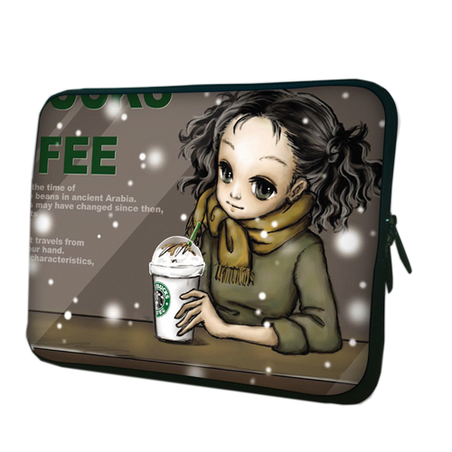 """10"""" 10.1"""" 10.2"""" Coffee Girl Laptop Netbook Notebook Tablet PC Soft Neoprene Sleeve Bag Case Cover Pouch For HP Dell Acer Sony(China (Mainland))"""