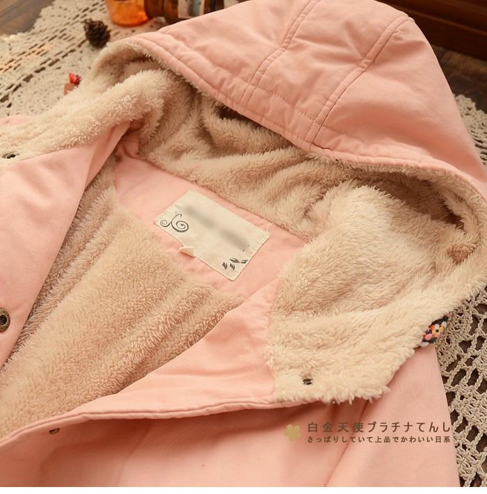 Japanese chaquetas mujer kimono vintage mori girl hippie winter Hooded Fleece fur hoodie embroidered cotton thick jacket coat