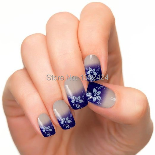 24pcs Pre Design Acrylic Nail Tips False French Full Nails Art Tips Free Glue Blue Flower Style Model JQ149(China (Mainland))