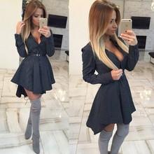 2015 New autumn fashion Women Shirt Dress Small dots Printed Fashion Irregular Long Sleeve Mini Vestidos