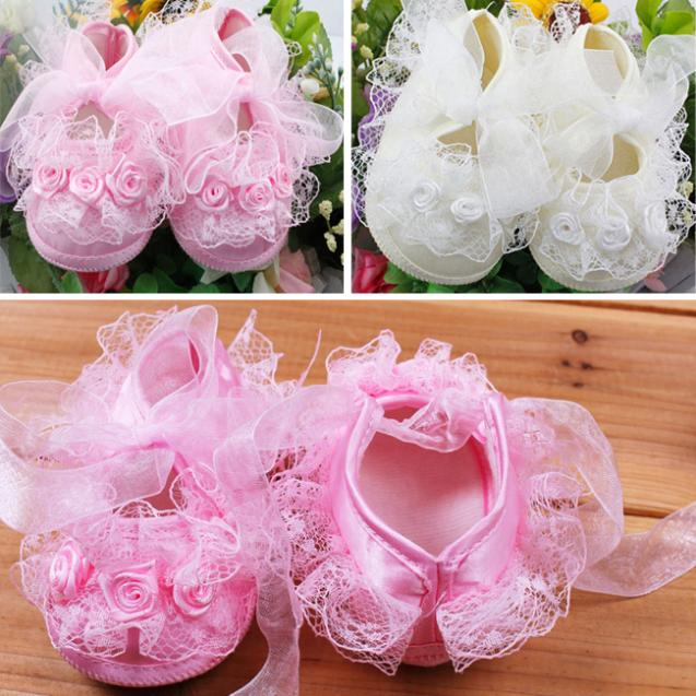 Real Real Free Shipping Cute Soft Baby Girls Toddlers Infant Lace Bowknot Walking Shoes(China (Mainland))