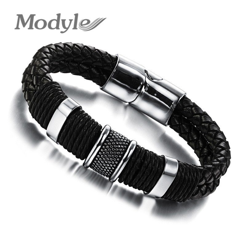 Modyle Handmade Genuine Leather Weaved Double Layer Man Bracelets Casual/Sporty Bicycle Motorcycle Delicate Cool Men Jewelry(China (Mainland))