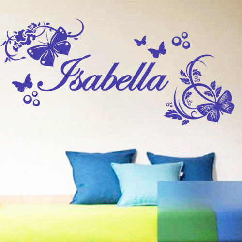 DIY Name Wall Stickers Fashion Personalized Kids Boy Girl Name Print Butterflies DIY Stickers Home Decor Bedroom(China (Mainland))