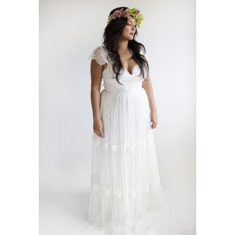 White linen wedding dress plus size graceful women white for Cloth for wedding dresses