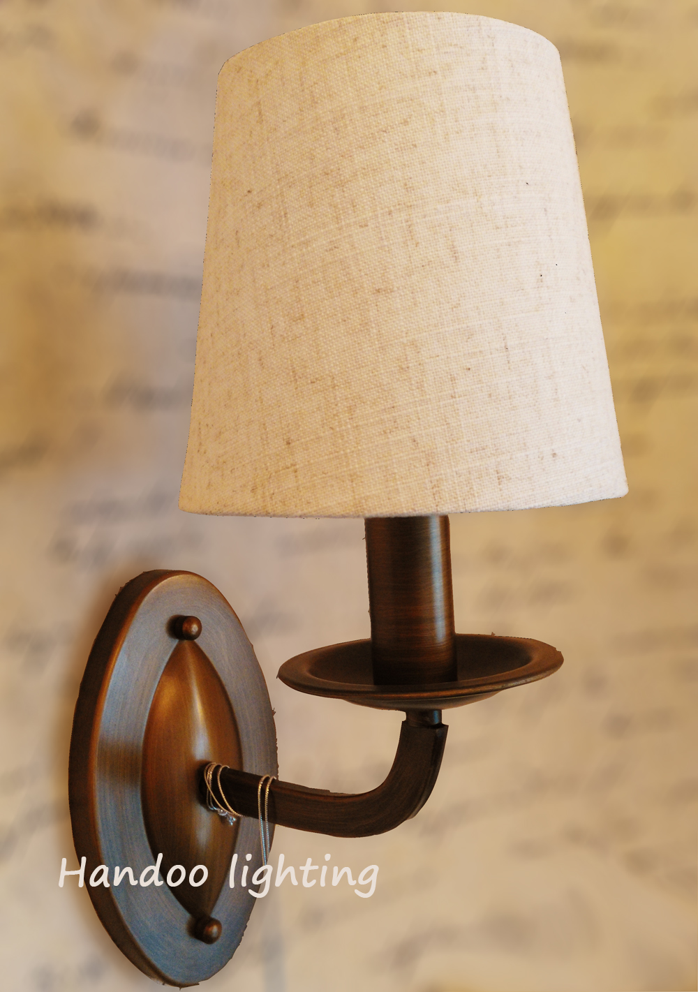 Aliexpress.com : Buy Free shipping retro style wall lamp Linen lampshade Vintage Iron copper ...