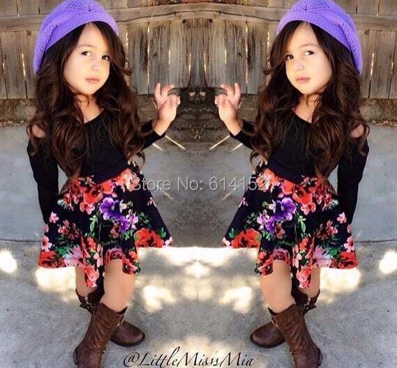 2015 New Spring baby Girl Clothing Set Children Flower dress Suit Kids Twinset Top T Shirt +skirt children clothing set suit - Hongfei Garment Co., Ltd. store