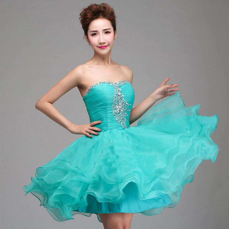 New 2016 Short robe Cocktail Dress Beaded Ball Gown Mini Party Dress vestido corto coctel Dresses(China (Mainland))