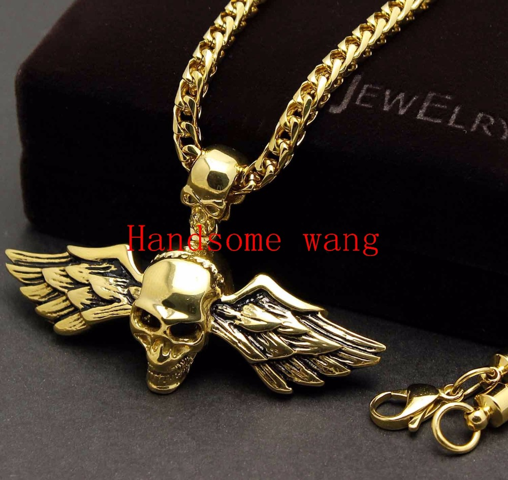 Huge Heavy Cool 18K Gold Plated 316L Stainless Steel Angel Wings Skeleton Skull Biker Rock Pendant Necklace 26g Mens Jewelry(China (Mainland))