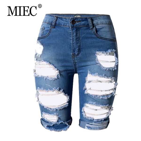MIEC 2016 Jenas font b Women b font Fashion Summer Casual Sexy Denim Hole White Pant