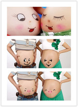 2016 New Pregnant photography Props face baby suits belly stickers two set daddy & mon Maternity belly Cute Free shipping(China (Mainland))