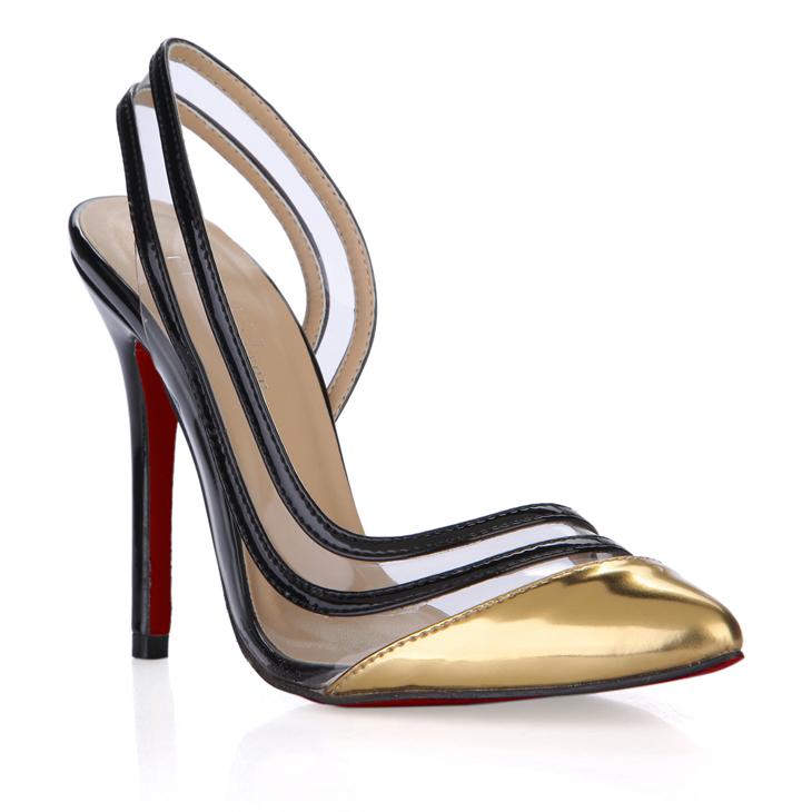 Здесь можно купить  Fashion plus size red sole black snakeskin high-heeled pointed toe single shoes 119-e  Обувь