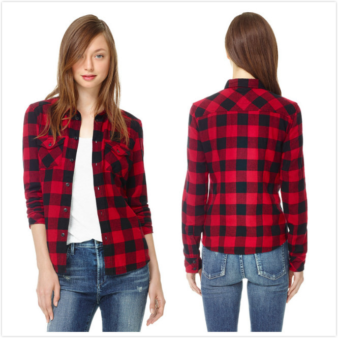 SPRING AUTUMN 2014 FLANNEL LONG SLEEVE LAPEL COLLAR RED & BLACK ...